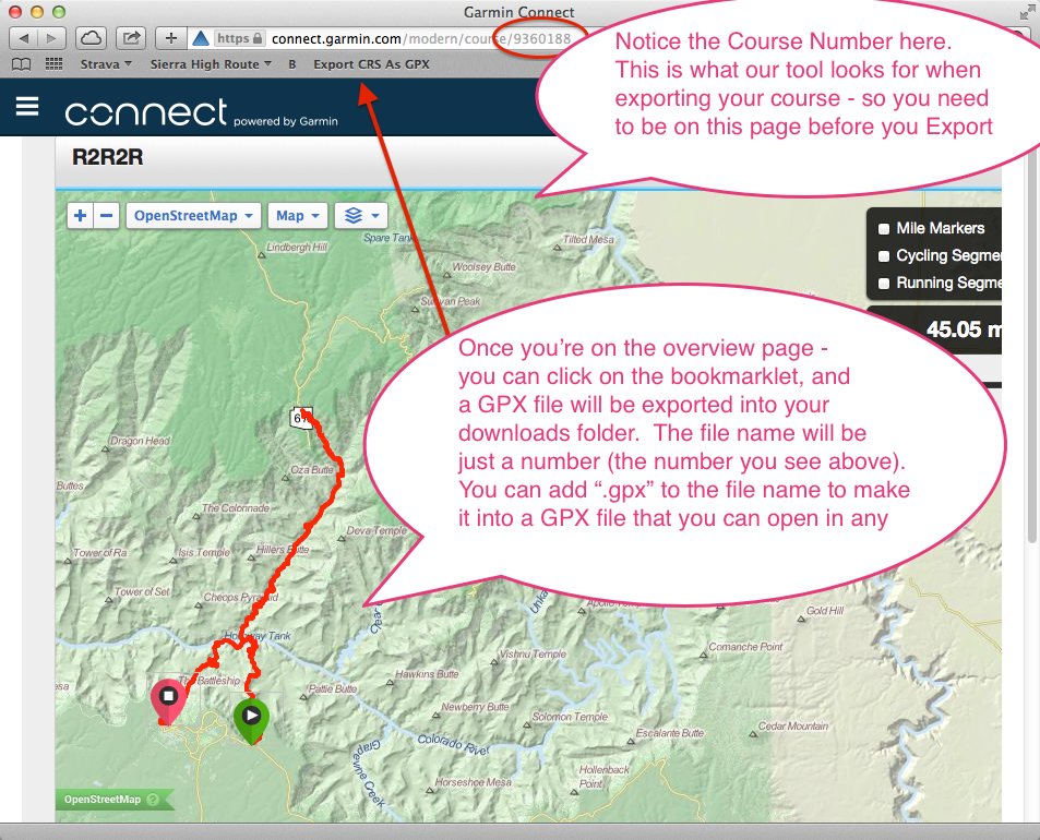 Export GPX file from a Garmin Connect Course